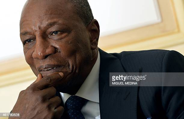 Guinea's president Alpha Conde gives an interview to AFP during a visit in Paris on January 19 2015 AFP PHOTO / MIGUEL MEDINA
