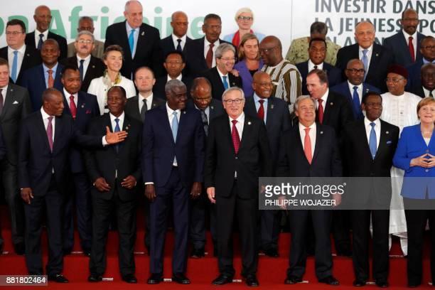 Guinea's President Alpha Conde, Ivory Coast President Alassane Ouattara, African Union Commission chairman Moussa Faki, European Commission President...