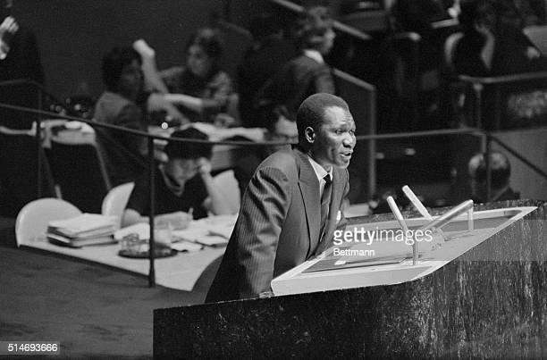 Guinea's President Sekou Toure addresses the General Assembly of the United Nations complaining about the lack of any permanent representative from...