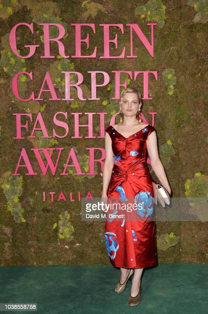 Guinevere Van Seenus wearing Marni attends The Green Carpet Fashion Awards Italia 2018 at Teatro Alla Scala on September 23 2018 in Milan Italy