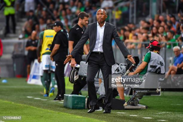 Guingamp head coach Antoine Kombouare during the French Ligue 1 match between AS Saint Etienne and EA Guingamp at Stade GeoffroyGuichard on August 11...