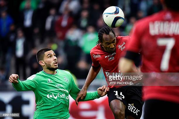 Guingamp's French defender Jeremy Sorbon vies for the ball with SaintEtienne's French forward Neal Maupay during the French L1 football match AS...