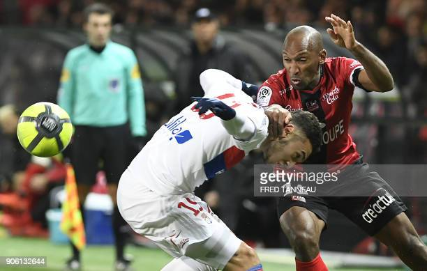 Guingamp's French defender Jeremy Sorbon vies Lyon's French forward Amine Gouiri during the French L1 football match between Guingamp and Lyon at the...
