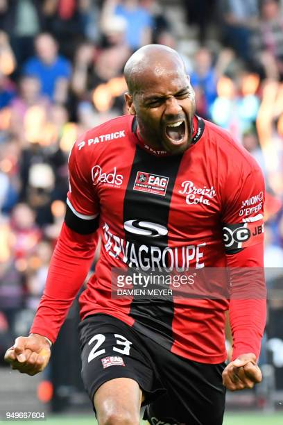 Guingamp's French forward Jimmy Briand celebrates after scoring a goal during the French L1 football match between Guingamp and Monaco on April 21,...