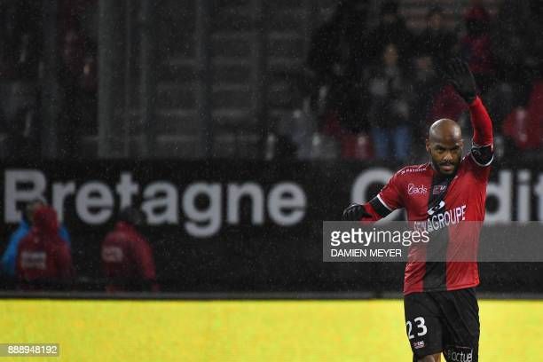 Guingamp's French forward Jimmy Briand celebrates after scoring during the French L1 football match Guingamp vs Dijon on December 9, 2017 at the...