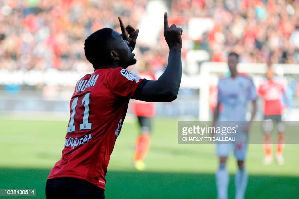 Guingamp's French forward Marcus Thuram celebrates after scoring a goal during the French L1 football match between Guingamp and Bordeaux on...