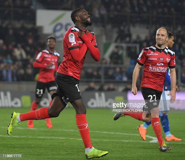 Guingamp's French forward Marcus Thuram celebrates after scoring during the French L1 football match between Racing Club Strasbourg Alsace and En...