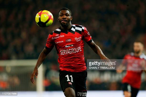 Guingamp's French forward Marcus Thuram runs for the ball during the French L1 football match between Guingamp and Angers at The Roudourou Stadium in...