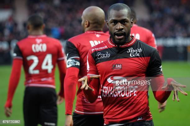 Guingamp's French forward Yannis Salibur celebrates after scoring a goal during the French L1 football match between Guingamp and Dijon on May 6,...