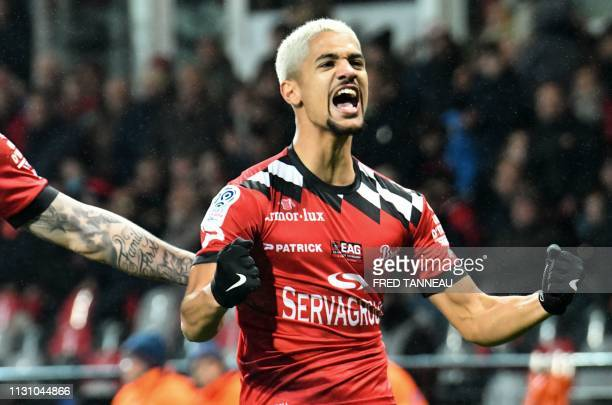 Guingamp's French midfielder Ludovic Blas celebrates after scoring during the French Top 14 rugby union match between BordeauxBegles and Stade...