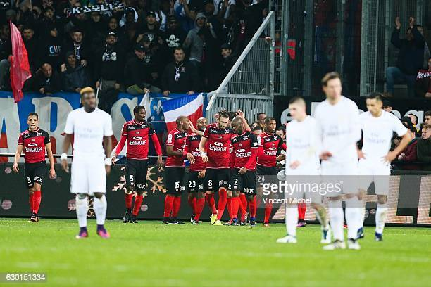 Guingamp's players jubilates after the second goal during the French Ligue 1 match between Guingamp and Paris Saint Germain at Stade du Roudourou on...