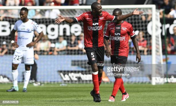 Guingamp's Senegalese midfielder Moustapha Diallo celebrates after he scored during the French Ligue 1 football match between Guingamp and Strasbourg...