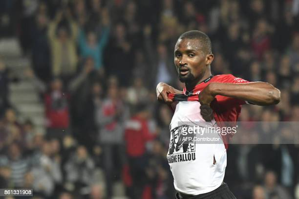 Guingamp's Senegalese midfielder Moustapha Diallo jubilates after scoring a goal during the French Ligue 1 football match Guingamp against Rennes on...