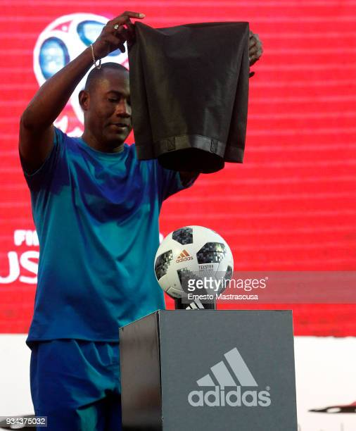 Guinness record holder Erick Hernández unveils the Russia 2018 FIFA World Cup official matchball on March 17 2018 in Havana Cuba
