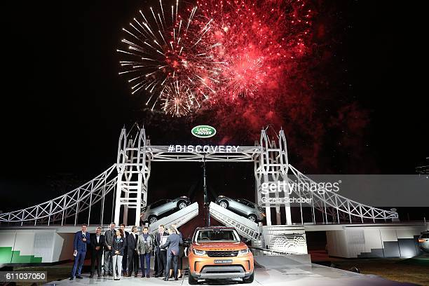 Guinness World record certificate hand over during the world premiere of the allnew Land Rover Discovery at Packington Hall park on September 28 2016...