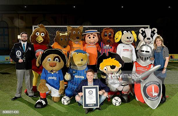 Guinness World Records' Mark McKinley Roman Kemp and Rachel Stringer with 15 mascots from The Football League taking part in a Guinness World Records...