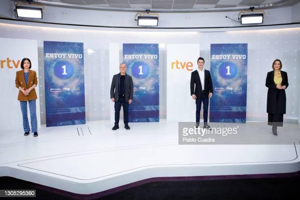 Guiomar Puerta, Javier Gutiérrez, Alejo Sauras and Cristina Plazas attend 'Estoy Vivo' photocall at RTVE on March 04, 2021 in Madrid, Spain.