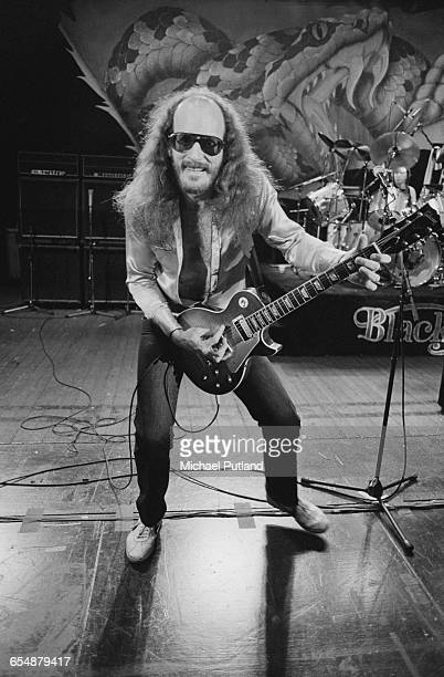 Guirarist Charlie Hargrett of American Southern rock group Blackfoot performing in a live setup for the cover of their live album 'Highway Song Live'...
