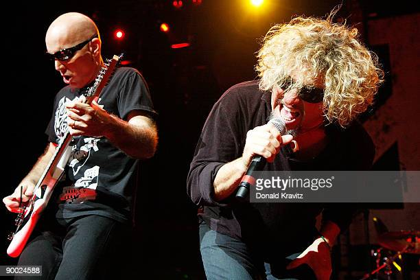 Guirtarist Joe Satriani and lead singer Sammy Hagar of the band Chickenfoot perform at the House of Blues on August 22 2009 in Atlantic City New...