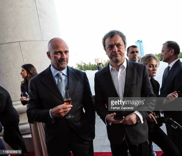 Guiseppe Cipriani and Mo Stojnovic attend the the Snow Leopard Foundation Gala 2019 at Astana Arena on July 04 2019 in Astana Kazakhstan