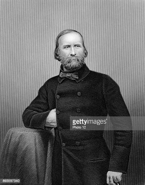 Guiseppe Garibaldi Italian patriot In 1860 at the head of his l000 Red Shirts he conquered Sicily and Naples Engraving