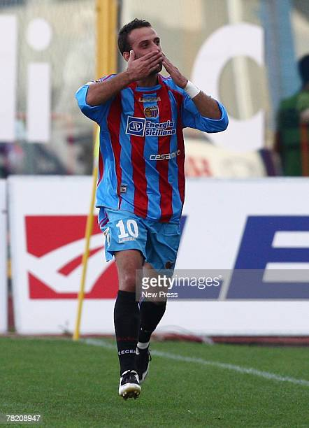 Guiseppe Mascara of Catania Calcio celebrates his goal during the Serie A game between Catania and Palermo on December 2, 2007 in Catania, Italy.