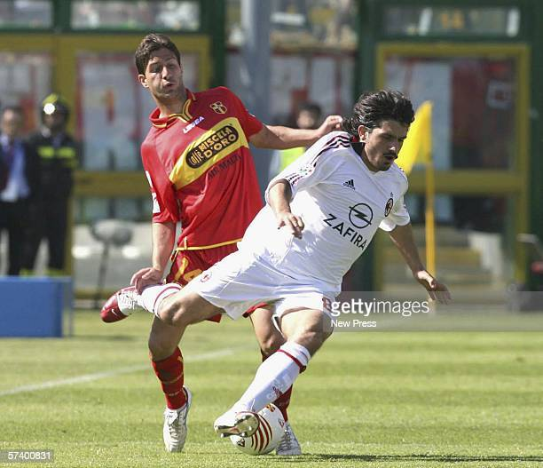 Guiseppe Sculli of Messina in action against Ivan Gennaro Gattuso of Milan during the Serie A match between Messina and AC Milan at the Stadio...