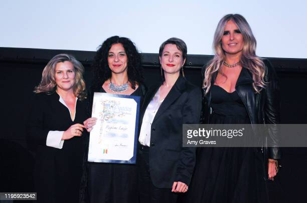 Guisi Alessio Valeria Rumori Silvia Chiave and Tiziana Rocca pose for a photo at the 2020 Filming Italy Awards at the Italian Cultural Institute on...