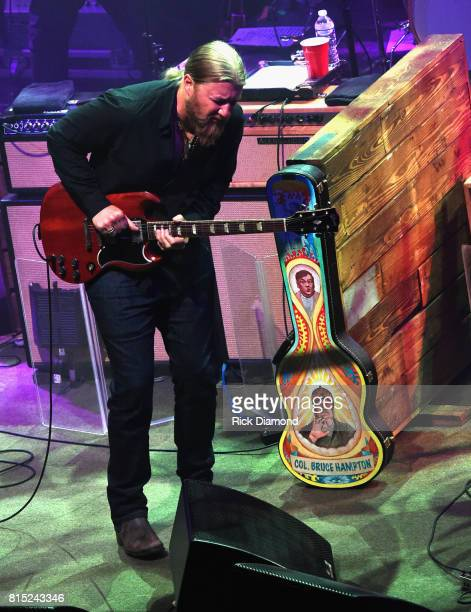 Guitar case in honor of Col Bruce Hampton by his friends Derek Trucks Susan Tedeschi while Derek Trucks performs during the Wheels Of Soul 2017 Tour...