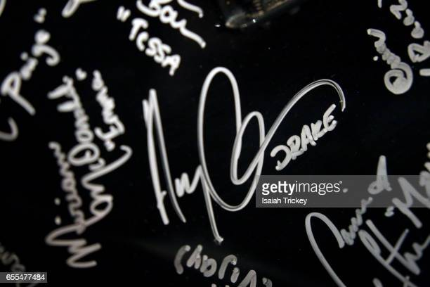 Guitar featuring the signatures cast members of the television series 'Degrassi Junior High' and 'Degrassi' including Aubrey Drake Graham at Toronto...