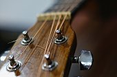 selective focus guitar headstock with blurry