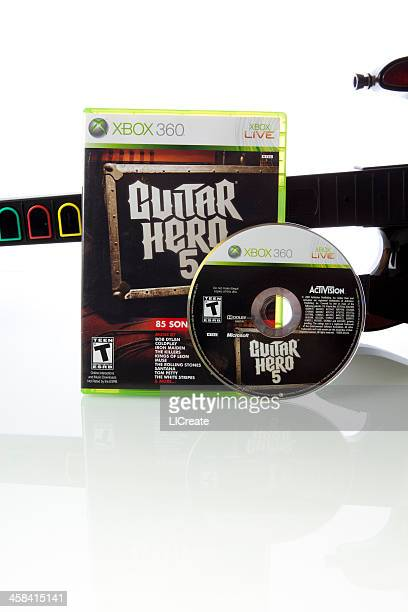 guitar hero 5 xbox 360 video game - guitar hero stock photos and pictures