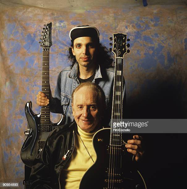 Guitar inventor Les Paul with Joe Satriani in October 1991