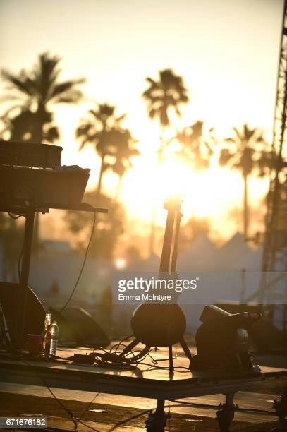 Guitar is seen at sunset during day 2 of the 2017 Coachella Valley Music Arts Festival at the Empire Polo Club on April 22 2017 in Indio California