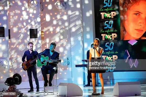 Guitar Jean-Felix Lalanne and Singer Joyce Jonathan perform Elsa's Song 'T en vas pas' during the 'Vivement Dimanche' show at Pavillon Gabriel on...