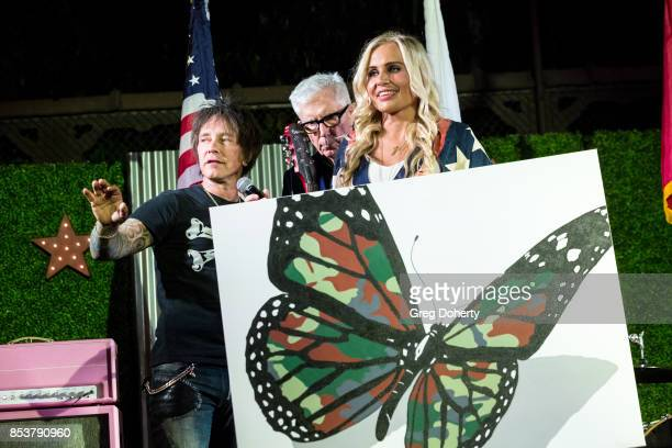 Guitar Player and Artist Billy Morrison KNBCTV Weathercaster Fritz Coleman and UCLA Operation Mend Program Director Melanie Gideon display a one of a...