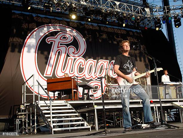 Guitar player and vocalist Keith Howland of the rock band Chicago performs on CBS' The Early Show at Charter One Pavilion on June 20 2008 in Chicago...
