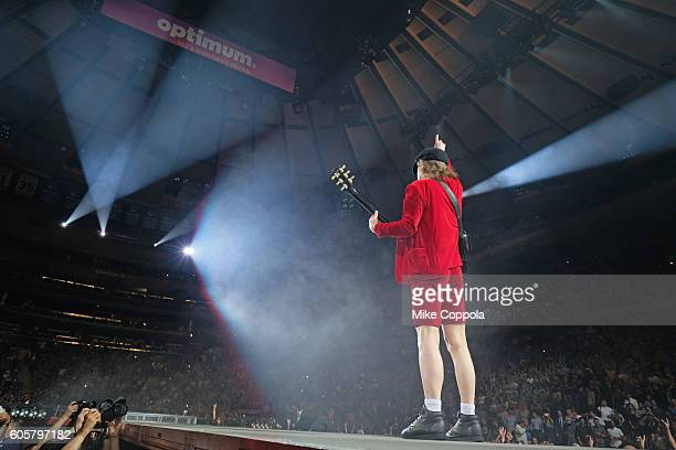 Guitar player Angus Young of AC/DC performs during the AC/DC Rock Or Bust Tour at Madison Square Garden on September 14 2016 in New York City