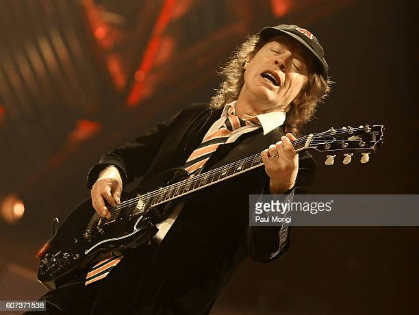 Guitar player Angus Young of AC/DC performs during the AC/DC Rock or Bust Tour Washington DC at the Verizon Center on September 17 2016 in Washington...