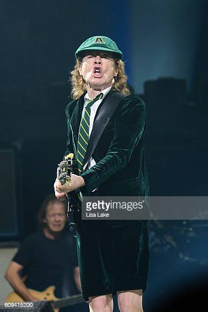 Guitar player Angus Young of AC/DC performs during the Rock Or Bust Tour at the at Wells Fargo Center on September 20, 2016 in Philadelphia,...