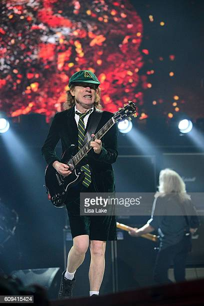 Guitar player Angus Young of AC/DC performs during the Rock Or Bust Tour at the at Wells Fargo Center on September 20 2016 in Philadelphia...