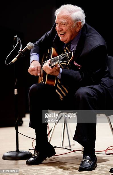 Guitar Player Bucky Pizzarelli performs live at The Duke Jazz Talks at Bruno Walter Auditorium New York Public Library for the Performing Arts on...