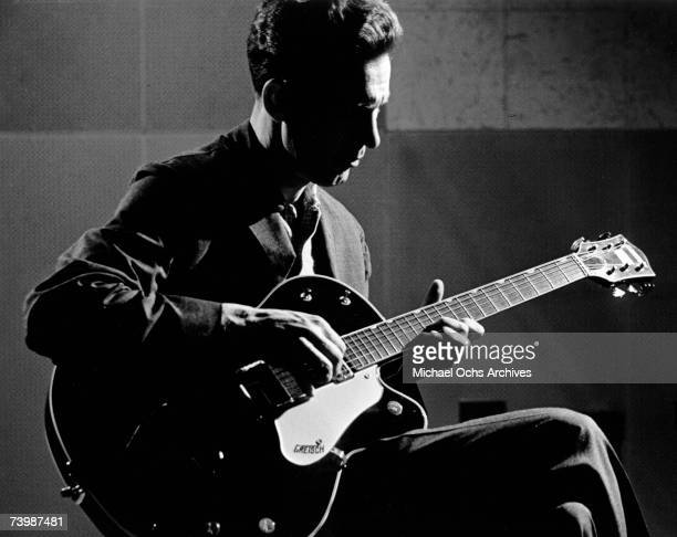 Guitar player Chet Atkins plays guitar in the RCA Recording Studios in Nashville Tennessee April 4 1960