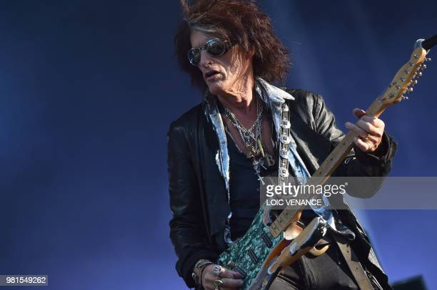 US guitar player Joe Perry performs with The Hollywood Vampires band as part of the Hellfest metal music festival in Clisson western France on June...