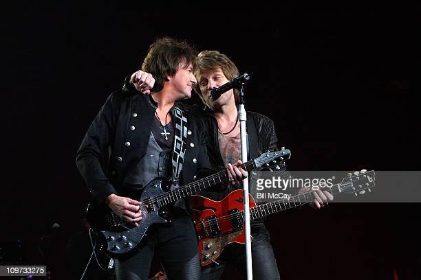 Guitar player Richie Sambora and Jon Bon Jovi perform at Wells Fargo Center March 2, 2011 in Philadelphia, Pennsylvania