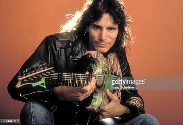 Guitar player Steve Vai poses at a Hotel in Amsterdam, Netherlands on 24th April 1990.