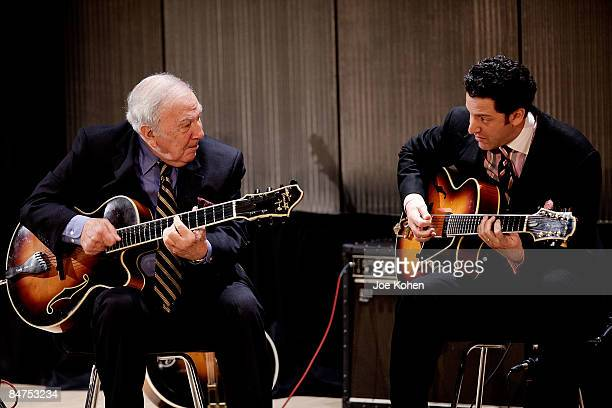 Guitar Players Bucky Pizzarelli and his son John Pizzarelli perform live at The Duke Jazz Talks at Bruno Walter Auditorium New York Public Library...