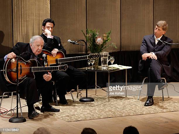 Guitar Players Bucky Pizzarelli his son John Pizzarelli and Interviewer Robert Santelli during a Q and A at The Duke Jazz Talks at Bruno Walter...