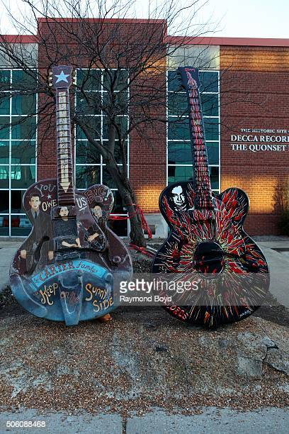 Guitar sculptures sits outside DECCA Records The Quonset Hut on January 1 2016 in Nashville Tennessee