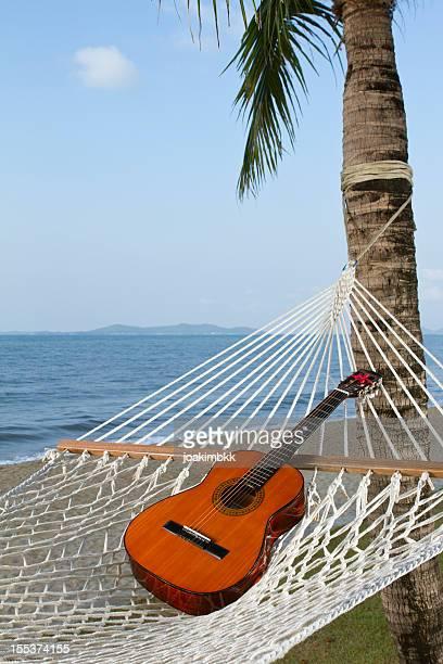 Guitar sitting on a hammock near the beach